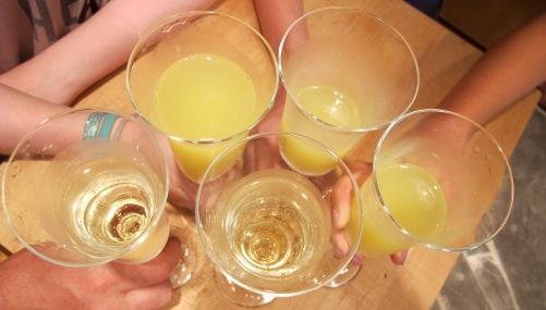 Celebration: Champagne, Orangina and ice cream floats