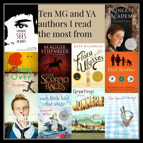Ten MG and YA authors I read the most from There's a Book for That